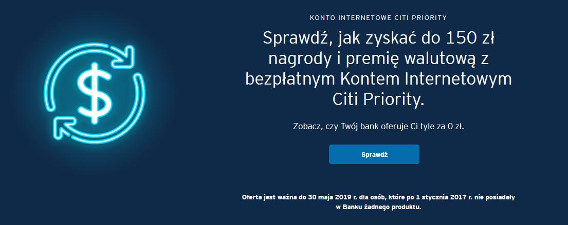 Ponownie 150 zł za konto osobiste z wynagrodzeniem w Citibanku