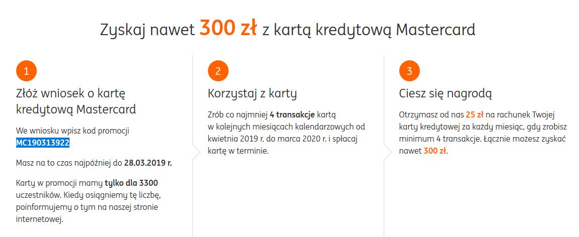 300 zł za kartę kredytową w ING Banku Śląskim