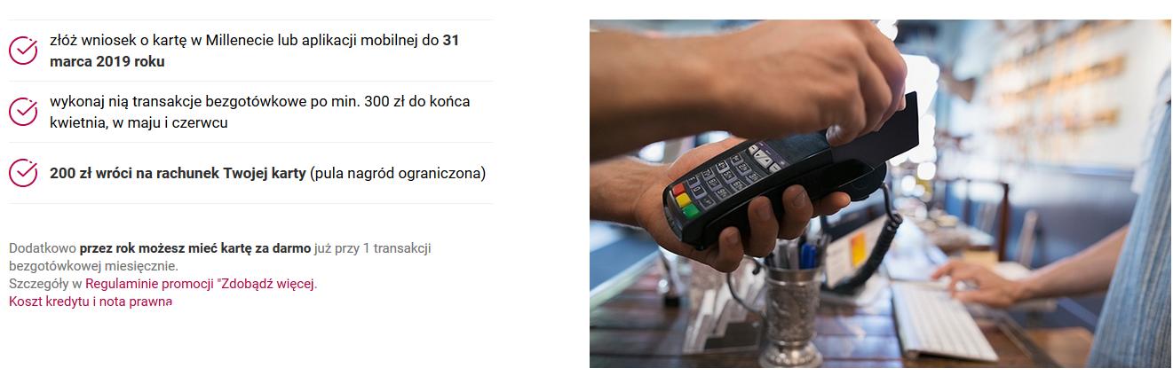 Ponownie 200 zł za kartę kredytową w Banku Millennium