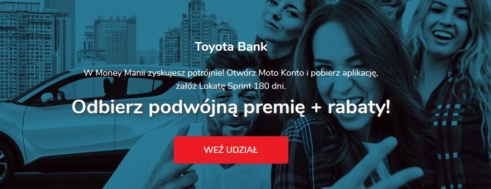 150 zł lub 200 zł za konto osobiste i lokatę w Toyota Banku w akcji Money Mania