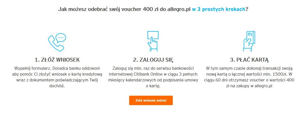 400 zł na Allegro za kartę kredytową Citibanku