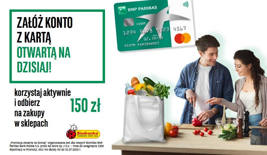 150 zł do Biedronki za konto w BNP Paribas