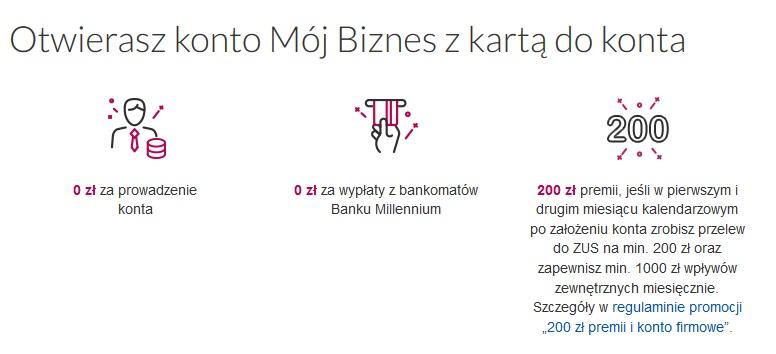 200 zł za konto firmowe w Banku Millennium