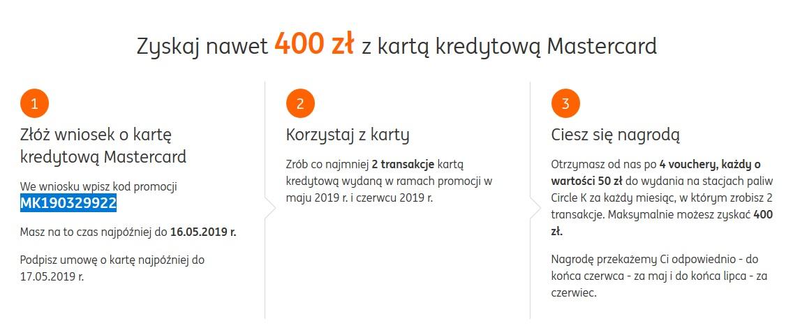 400 zł za kartę kredytową w ING Banku Śląskim
