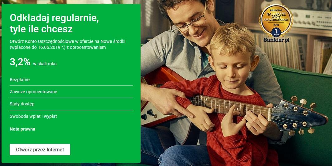 Konto Oszczędnościowe na 3,20% w Getin Banku + 50 zł za konto osobiste