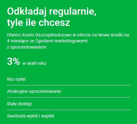 3 na Koncie Oszczędnościowym i 50 zł za Konto Osobiste