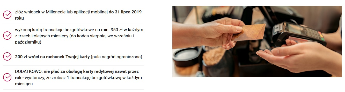 200 zł za kartę kredytową w Banku Millennium w akcji Lipiec z kartą kredytową
