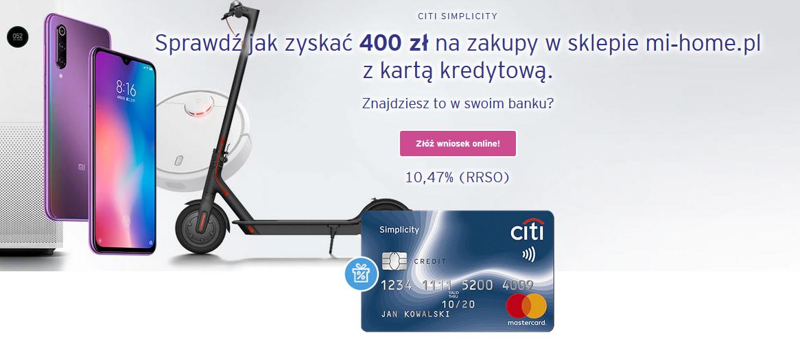 400 zł do wydania na mi-home.pl z kartą Citibanku