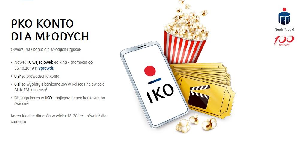 10 biletów do kina za Konto dla Młodych w PKO BP + 100 zł w programie poleceń