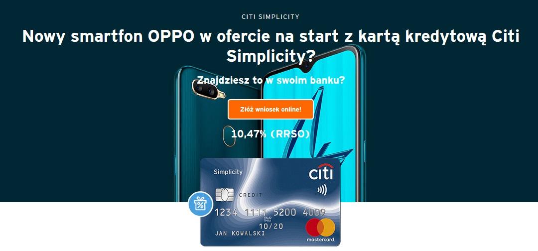 Smartfon OPPO za kartę w Citibanku