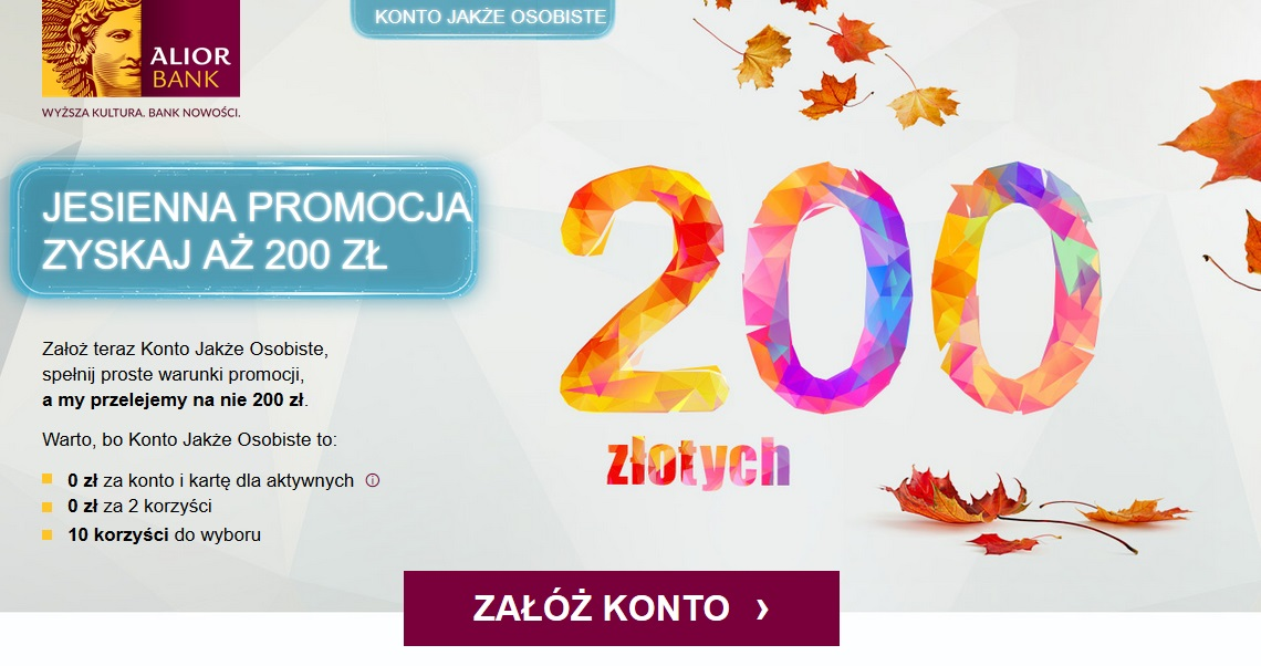 Ponownie Konto Mocno Oszczędnościowe w Alior Banku na 2,60% + 200 zł dla nowych klientów