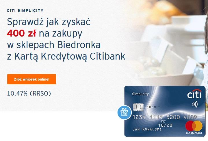 400 zł do Biedronki za kartę kredytową Citibanku