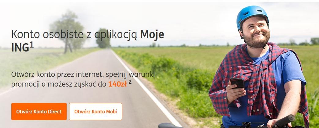 Konto osobiste w ING Banku Śląskim z premią 140 zł