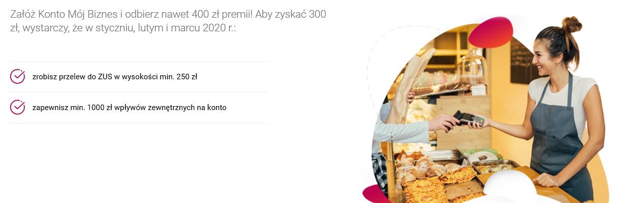 300 zł za konto firmowe w Banku Millennium + 100 zł za terminal