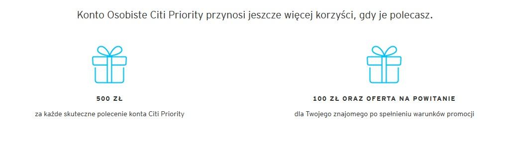 500 zł za polecenie oraz 100 zł z polecenia za konto Citi Priority w Citibanku