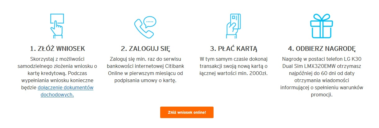 Smartfon LG K30 za kartę kredytową Citi Simplicity w Citibanku