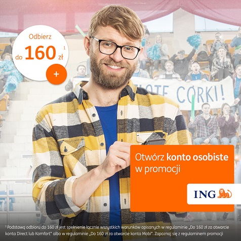160 zł + 100 zł czy 200 zł za konto osobiste w ING Banku Śląskim