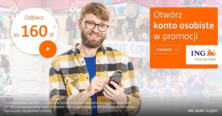 100 zł lub 200 zł za regularne inwestowanie + 160 zł za konto dla nowych w ING Banku Śląskim