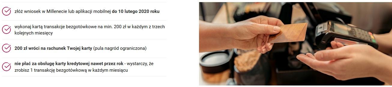 200 zł za kartę kredytową w Bank Millennium + 200 zł za konto osobiste dla nowych