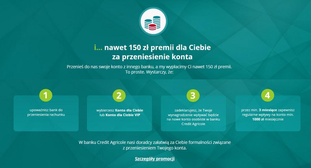 200 zł za przeniesienie konta i 300 zł za kartę kredytową w Credit Agricole