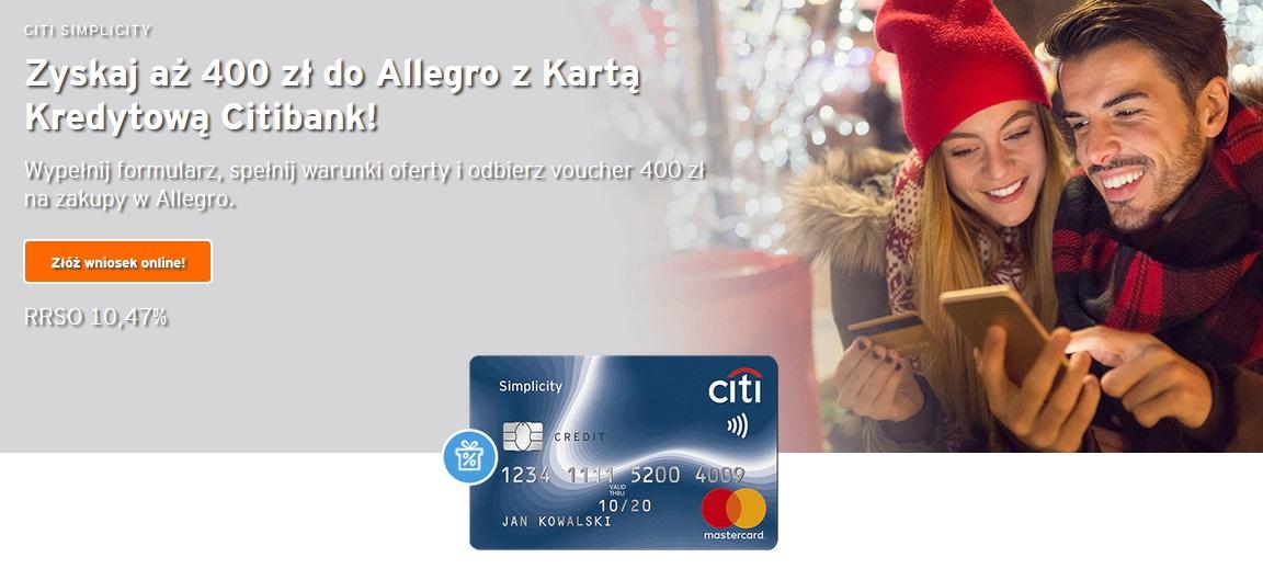 Ponownie 400 zł na Allegro za kartę kredytową Citibanku