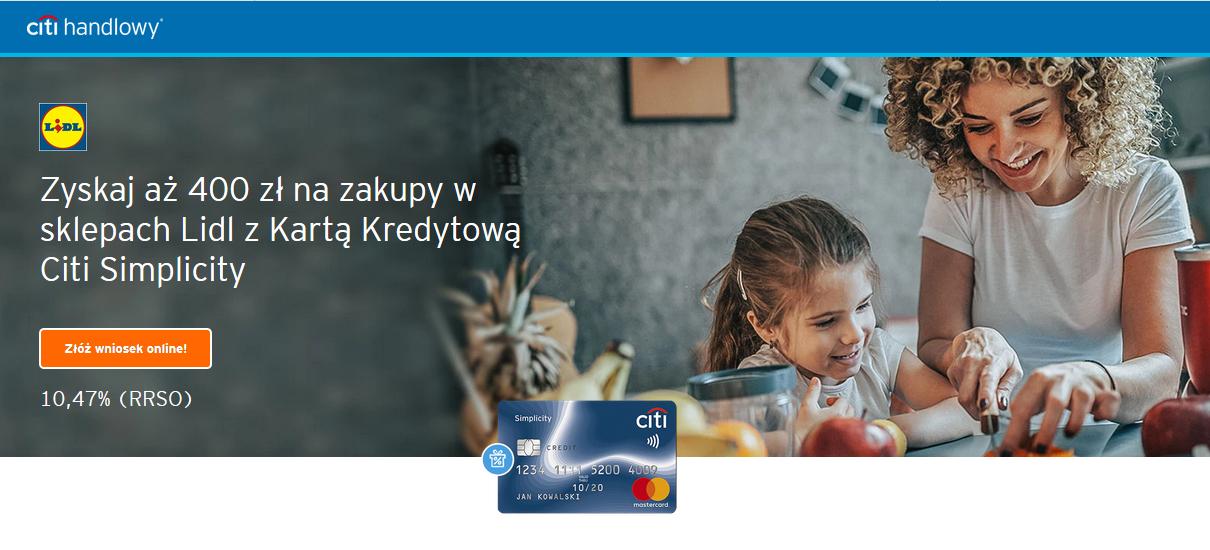 Bon - 400 zł do Lidla za kartę kredytową w Citibanku
