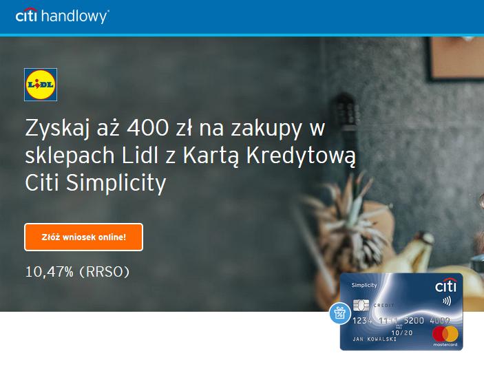 400 zł do Lidla za kartę kredytową Citibanku