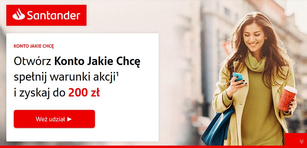 200 zł za konto osobiste w Santanderze + 50 zł z polecenia