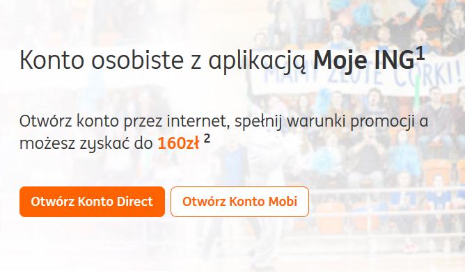 160 zł za konto osobiste w ING Banku Śląskim
