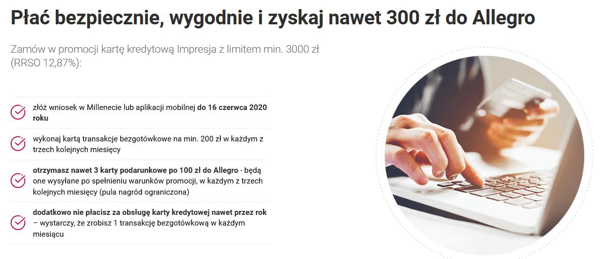 300 zł na Allegro za kartę kredytową w Banku Millennium
