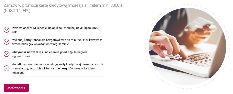 300 zł na Goodie za kartę kredytową w Banku Millennium