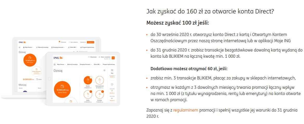 Klasyczne 160 zł za konto w ING Banku Śląskim