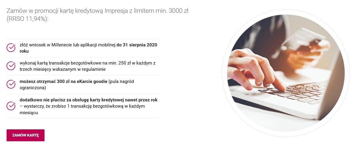 220 zł za konto oraz 300 zł za kartę kredytową w Banku Millennium