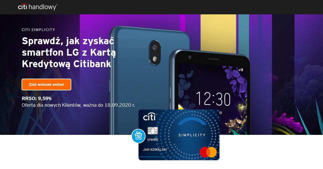 Smartfon LG K30 za kartę kredytową w Citibank