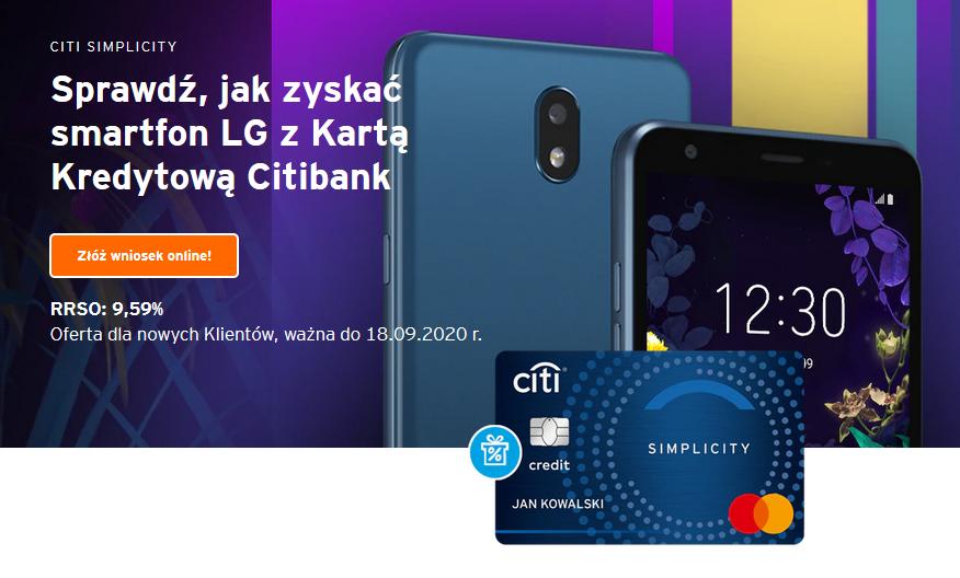 Smartfon LG K30 za kartę kredytową w Citibanku