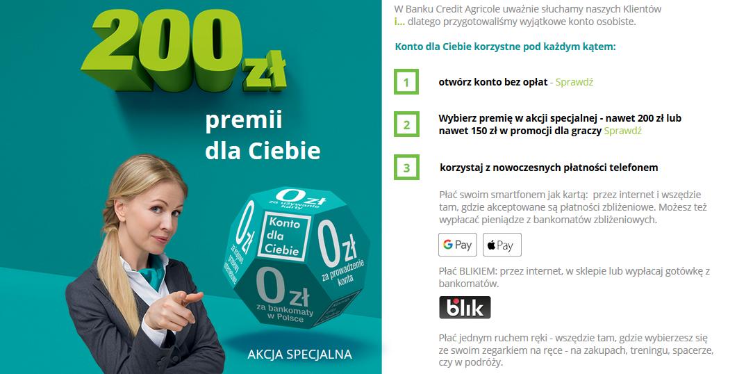 200 zł za konto w Credit Agricole w nowej edycji promocji Korzyści dla Ciebie