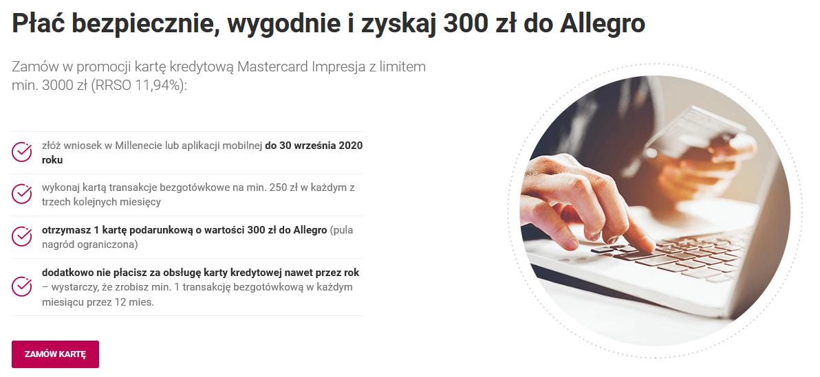220 zł za konto plus 70 zł dla dziecka oraz 300 zł za kartę kredytową w Banku Millennium