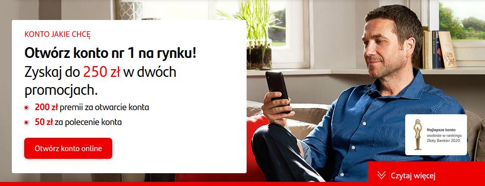 250 zł za konto w Santanderze w akcji Mam konto z premią 200 zł i programie poleceń