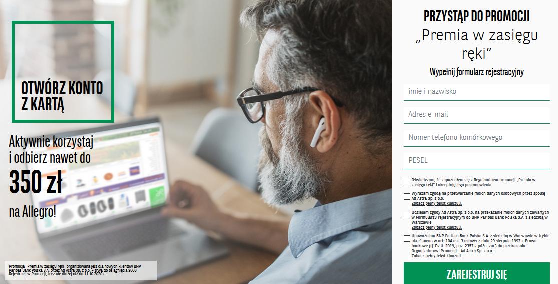 E-kody na Allegro o wartości 350 zł za konto w BNP Paribas w akcji Premia w zasięgu ręki za spełnienie prostych warunków akcji.