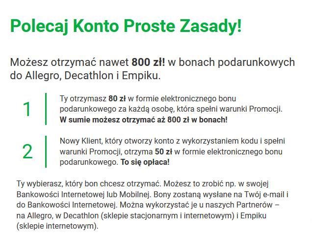 50 zł i 100 zł + 80 zł do podziału za konto w Getin Banku