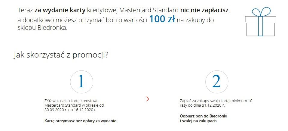 100 zł za kartę kredytową w mBanku