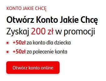 250 zł +50 zł + 100 zł za Konto Jakie Chcę w Santanderze