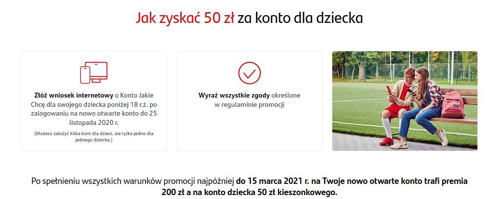 250 zł za Konto Jakie Chcę w Santanderze + 50 zł za konto dla dziecka