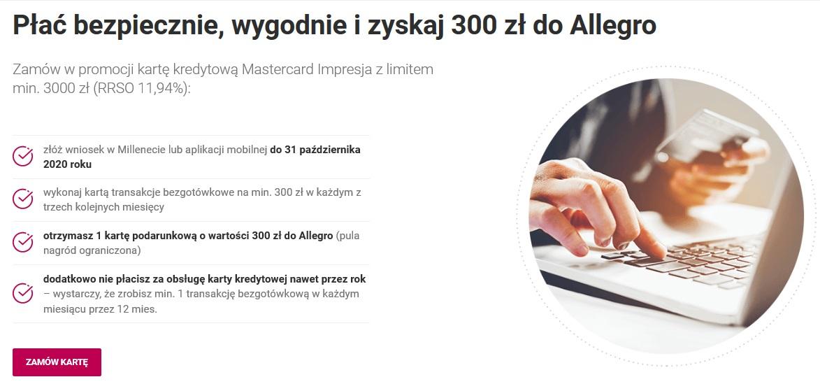 Kolejne 300 zł na Allegro za kartę kredytową w Banku Millennium