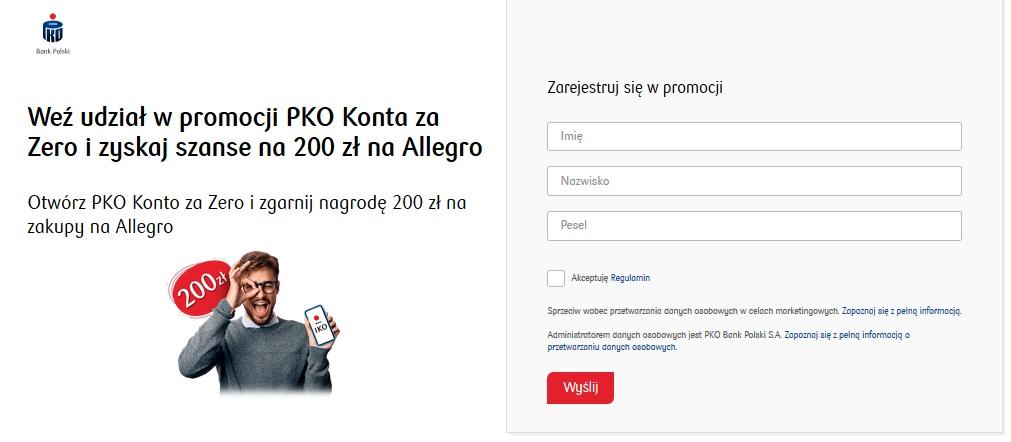 Ponownie 200 zł na Allegro za konto w PKO BP