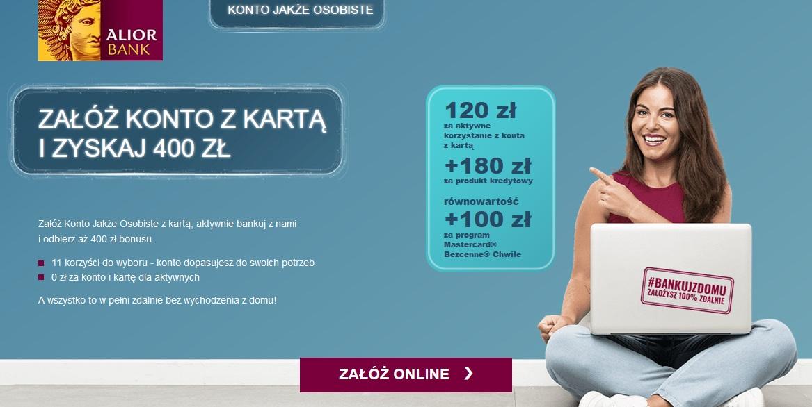 Premia do 400 zł za konto w Alior Banku i produkt kredytowy