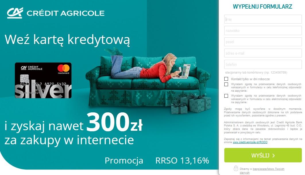 200 zł za konto w Credit Agricole i 300 zł za kartę kredytową