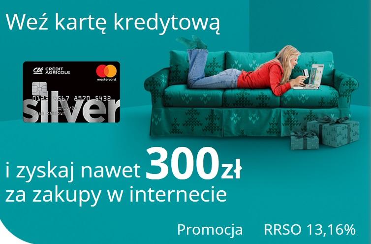 300 zł za kartę kredytową w Credit Agricole