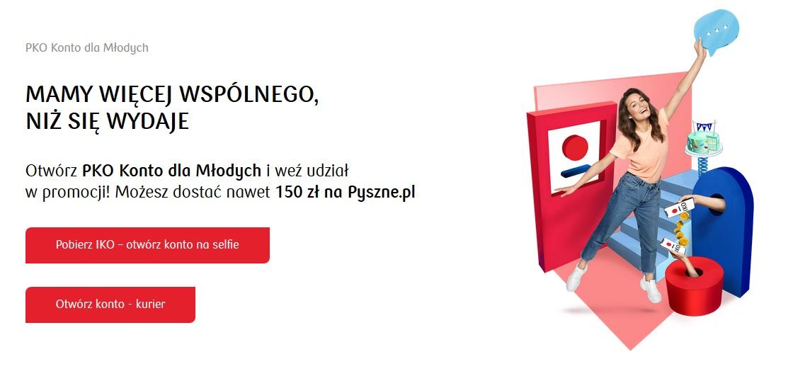 150 zł na pyszne.pl za Konto dla Młodych w PKO BP