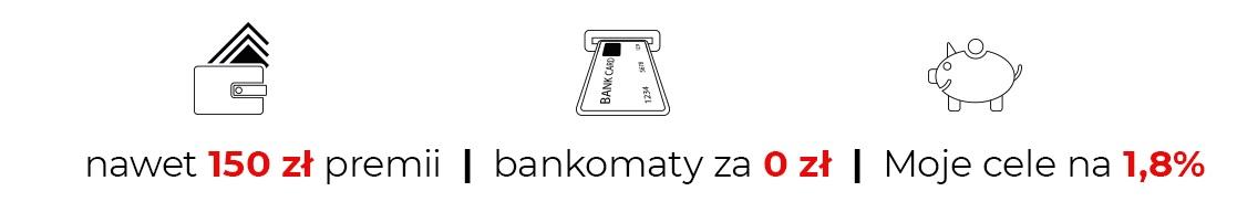 150 za konto w mBanku plus 1,80% na rachunku Moje Cele